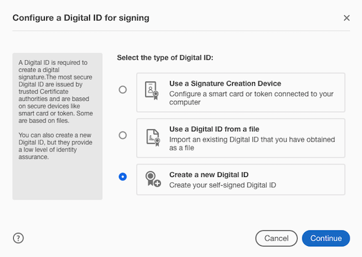 Prompt to configure digital ID